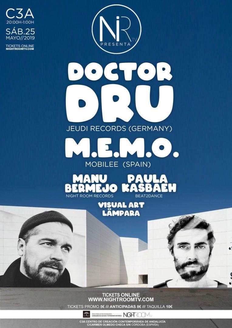 Cartel Night Room TV con Doctor Dru y M.E.M.O. en Córdoba