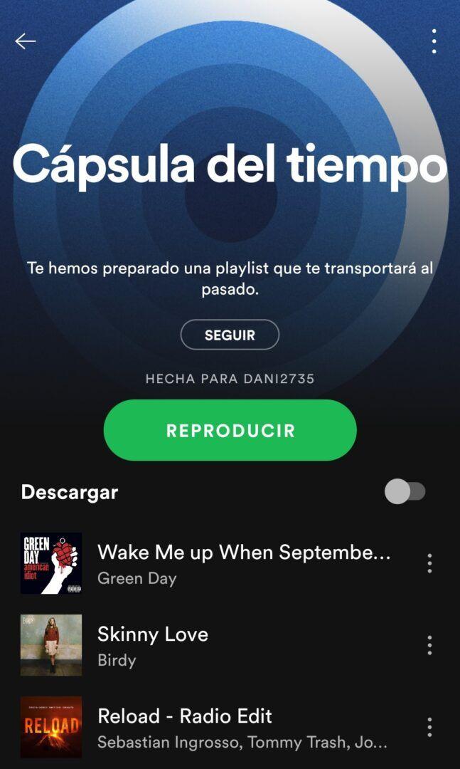 Cápsula del tiempo Spotify
